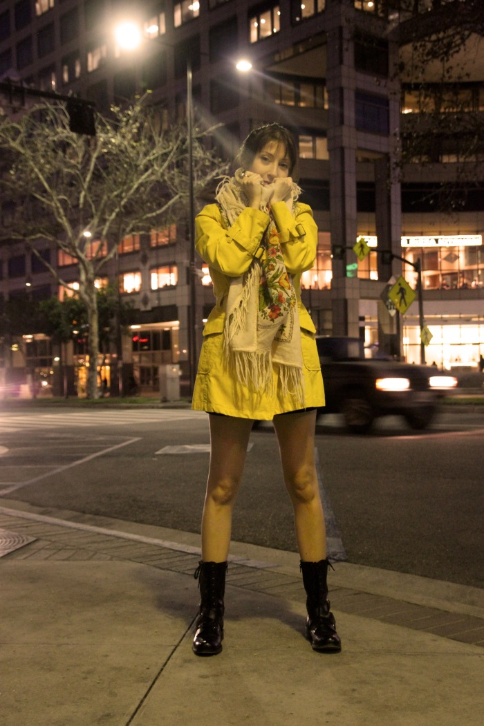 Evelina Galli in a yellow trench