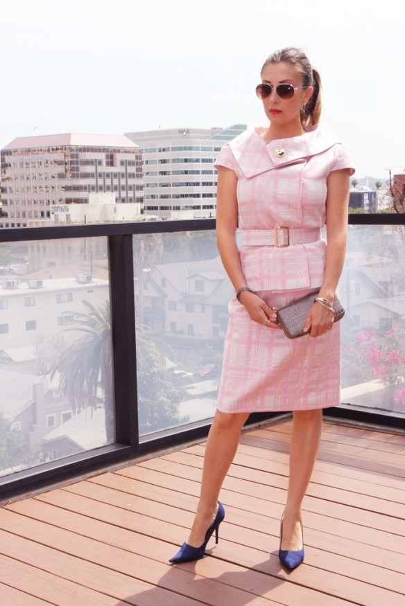 Mad Men inspired pink suit on Evelina Galli